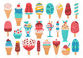 Set of different types of ice cream
