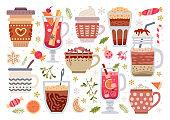 Cute winter hot drinks set. Vector illustration