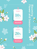 Spring season sale. Coupon web page of flower illustration. Flower frame vector illustration.