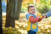 Emotional portrait of a happy and cheerful little boy laughing. yellow flying maple leaves while walking in the autumn park. Happy childhood. Autumn mood. Positive emotions. Lifestyle