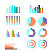 Group of quantitative graphs, flat design business infographic. Colorful vector illustration, chart, diagram, cicle, pie. visual analysis