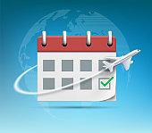 Plane flies around the organizer or calendar with green check mark