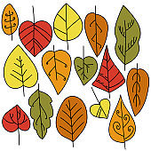 Set of multi-colored leaves in autumn shades with black outline and ornate patterns, vector illustration