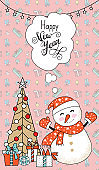 Greeting card, Christmas card with snowman, christmas tree and gifts