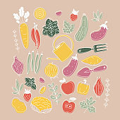 Collection of colored plants and vegetable illustrations. Organic fresh collection. Scandinavian style. Vector illustration
