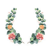 Watercolor vector hand painted wreath with green eucalyptus leaves and flowers.