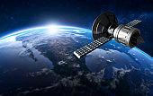 3D render of GPS satellite in orbit around the world