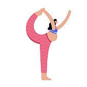 Yoga flat vector illustration. Healthy pregnancy.