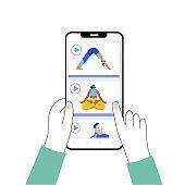 Yoga flat vector illustration. Healthy lifestyle