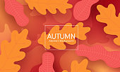 Autumn vector abstract template design. Autumn abstract background text with orange and red leaves