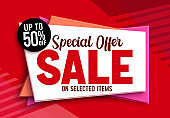 Sale special offer vector banner design. 50% off discount sale text in red abstract background