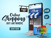 Online sale shopping vector banner design. Online shopping text with phone, cart and paper bag elements