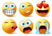Smileys emojis and emoticons face vector set. Smiley icon or emoticon of cute yellow faces