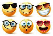 Smileys emoji or emoticon faces wearing sunglasses and eyeglasses vector set.