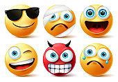 Smiley emoticon or emoji face vector set. Smileys yellow face icon and emoticons