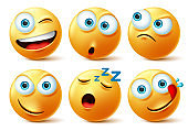 Smiley emoticon faces vector set. Smileys emoticons of yellow face