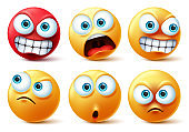 Smileys emoticons face vector set. Smiley yellow icon and emoticon faces
