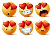Smiley emoticons or emojis face with heart eye vector set.