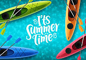 It's summer time vector banner design. Beach elements like colorful floating kayak boat
