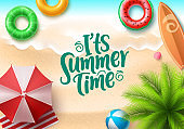 It's summer time vector banner design. Summer text in seaside top view background with colorful beach elements