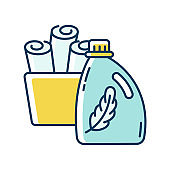 Fabric softener blue and yellow RGB color icon. Cleaning product packaging, laundry detergent conditioner bottle. Chemical substance, fabric care, delicate washing. Isolated vector illustration