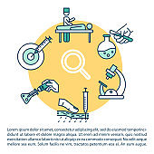 Oncology research concept icon with text. Laboratory examinations. Cancer diagnostic. Scientific tests. PPT page vector template. Brochure, magazine, booklet design element with linear illustrations
