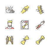 Bone fractures RGB color icons set. X-ray scan. Spine dislocation. Broken neck. Surgery. Open fracture. Limb and body part injuries. Healthcare. Isolated vector illustrations