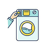 Self-service laundry blue and yellow RGB color icon. Laundromat, washateria, commercial washer, coin wash service, industrial laundry machine. Housework, chores. Isolated vector illustration