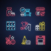 Shopping mall products neon light icons set