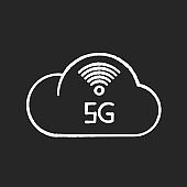 5G cloud service chalk white icon on black background. Cloud computing. Remote workforce. Network storage. Wireless technology. Fast connection. Isolated vector chalkboard illustration