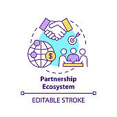 Partnership ecosystem concept icon