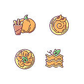 Gourd recipes RGB color icons set