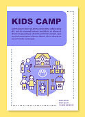 Preschooler children summer camp brochure template layout. Flyer, booklet, leaflet print design with linear illustrations. Vector page layouts for magazines, annual reports, advertising posters
