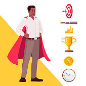 Self efficacy semi flat RGB color vector illustration. Confident office worker in super hero cape isolated cartoon character on white background with icons set. Workplace efficiency concept