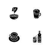 Beverages black glyph icons set on white space