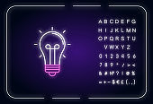 Light bulb neon light icon. Glowing lightbulb. Think of solution. Incandescent lamp. Outer glowing effect. Sign with alphabet, numbers and symbols. Vector isolated RGB color illustration