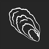 Oyster chalk white icon on black background