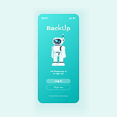 Backup application smartphone interface vector template. Mobile app page light design layout. Cloud storage software screen. Flat UI for application. Log in and sign up buttons on phone display.