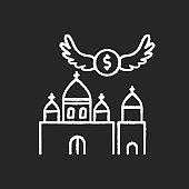 Church donation chalk white icon on black background
