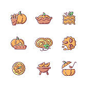 Pumpkin dishes RGB color icons set