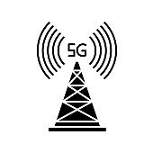 5G cell tower black glyph icon. Wireless technology. Fast connection. Mobile cellular network coverage. Telecommunications antenna. Silhouette symbol on white space. Vector isolated illustration