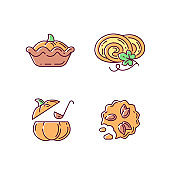 Autumn dishes recipes RGB color icons set