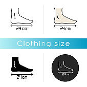 Foot length icon. Linear black and RGB color styles. Human body parameters measurement, shoemaking. Foot size from heel to toe specification for bespoke shoes. Isolated vector illustrations