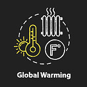 Global warming chalk RGB color concept icon. Heat wave. High temperature. Industrial damage. Ozone depletion. Climate change idea. Vector isolated chalkboard illustration on black background