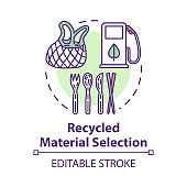 Recycled material selection concept icon. Environment protection. Garbage disposal and reuse. Eco products idea thin line illustration. Vector isolated outline RGB color drawing. Editable stroke