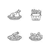 National cookery pixel perfect linear icons set