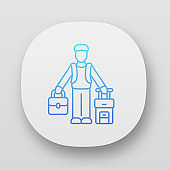 Immigrant man app icon. Refugee with suitcase and backpack. Travelling abroad. Solo trip, tourism. Immigration. UI/UX user interface. Web or mobile applications. Vector isolated illustrations