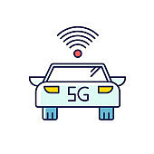 5G smart car RGB color icon. Self-driving vehicle. Autonomous driving. Driverless automobile. Wireless technology. Mobile cellular network. Isolated vector illustration