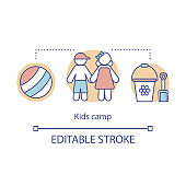 Children, kid camp concept icon. Summer club, community idea thin line illustration. Child holiday resort. Educational after school facility. Vector isolated outline drawing. Editable stroke