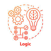 Logic red gradient concept icon. Thinking process thin line illustration. Rational solutions, ideas. Situation analysis. Strategy, algorithm. Solving problems. Vector isolated outline drawing